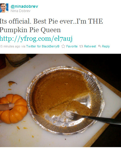 """Its official. Best Pie ever..I'm THE Pumpkin Pie Queen ""  I bet she baked it for sick Ian to make him feel better xD"
