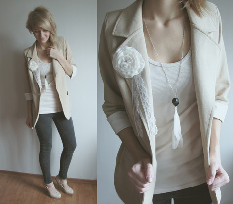 "xmyrin:  New Look Beige Blazer, H&M Necklace, Beige Heels // ""California girls we're Unforgettable"" by Natalie Marktherocket // LOOKBOOK.nu"