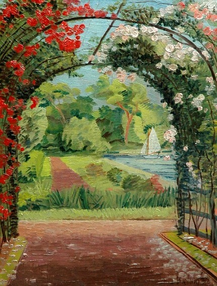 H F Bieling A garden at the water in Hillegersberg, Rotterdam 1932