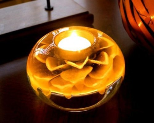 Harvest Yellow Dahlia Candle Holder by LaBellaCandela