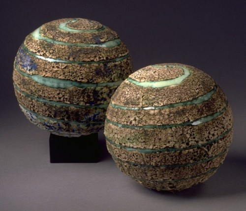 Planet/Wheelthrown Stoneware Textured Sphere by blueroompottery