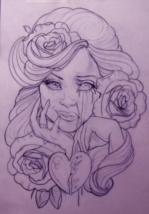 illustration by Emily Rose Murray woman, flowers, hair, heart, tears, split emotions Beautiful!