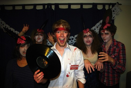 Went to a Halloween party last night as Shaun of the Dead zombies (complete with horrific vinyl-record-induced injuries).