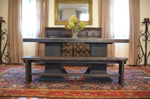 Beautiful, handmade recycled wood 6-foot farmhouse dining table and benches. This would be just as stunning in a traditional or more modern space.