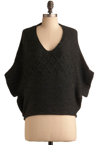 Roundabout Sweater: $49.99 As a woman with her arms coming out of her waist, I have always struggled to find clothes tailored for me.  Now, thanks to the Roundabout Sweater, I shall look no further.  Thanks, ModCloth! Merge this piece with black skinnies, foldover boots, and a satchel, then make the avenue your runway!