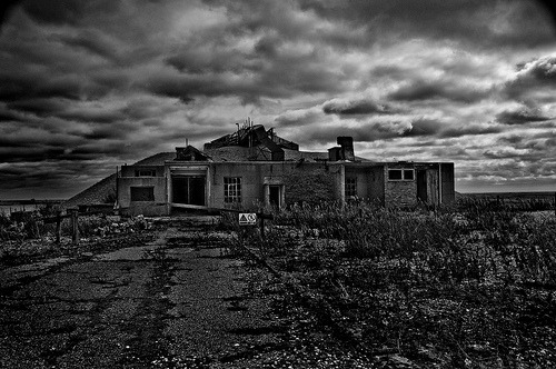 "Weapon components Testing Laboratory Orford Ness, from last year. Two types of testing facilities exist on the Ness. This type has thick walls which are further re enforced with tons of shingle from the Ness, but a thinly protected roof. This is apparently so that if things go.""A bit Wonky,"" the resulting blast would be directed straight up and not sideways therefore protecting the station commanders Bacon sandwich. Orford, England, UK"