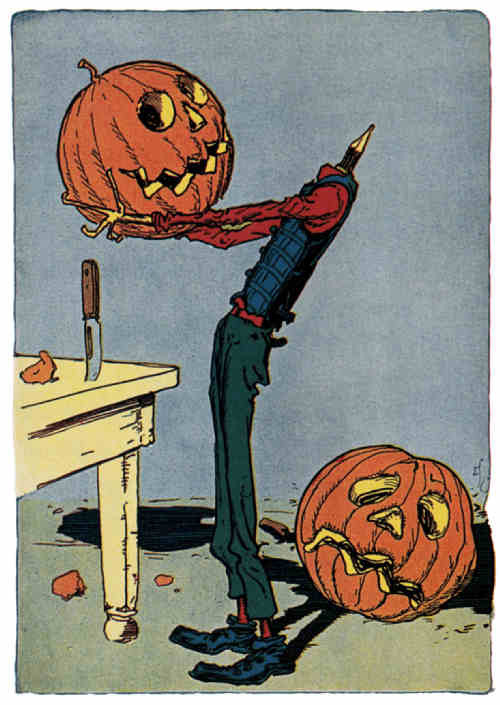 "monsterman:  Jack Pumpkinhead tries on a smiley face head today Artist:  John R. Neill from ""Little Wizard Stories of Oz"" by L. Frank Baum, 1914."