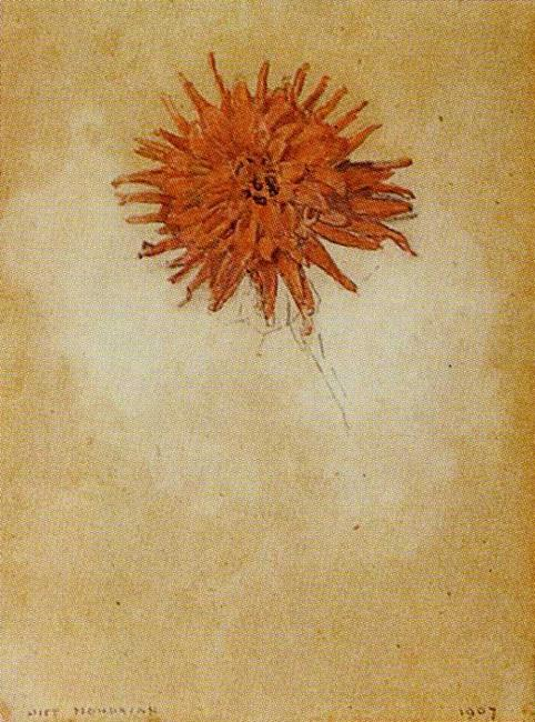 Piet Mondrian. Red Dahlia.  /Rode Dahlia. 1907. Watercolor. 30.5 x 23 cm. The Morgan Library and Museum, New York, NY, USA.