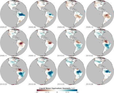 "Gravity of Water -  These maps show changes in water storage in the Western Hemisphere from July 2009 through June 2010; that is, they show how much more or less water is tied up in lakes and rivers, groundwater aquifers, soil moisture, snow, and glaciers. The measurements were made by the Gravity Recovery and Climate Experiment (GRACE), twin satellites that measure subtle changes in Earth's gravity over time. In this case, the satellites measured how Earth's gravity field changed as water piled up or was depleted from different regions at different times of year. Though it is distributed over the landscape, water has mass; the greater the mass, the greater the gravitational attraction. Blues indicate increases above the normal water storage (mass) for an area, while browns indicate decreases. Water storage changes are measured in centimeters because they are, according to NASA hydrologist Matt Rodell, ""expressed as an equivalent water level change, as if all the land's water were ponded on the surface.""  via Earth Observatory"