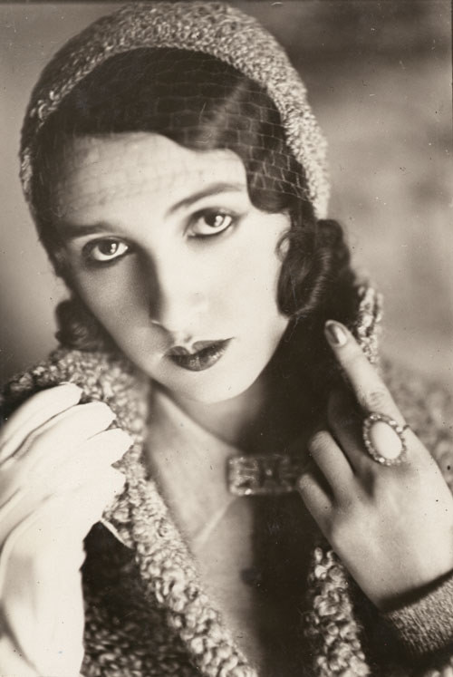 Renée Perle in veiled cap with one gloved hand and ring,1930 by J.H.Lartigue  [also & more Lartigue]