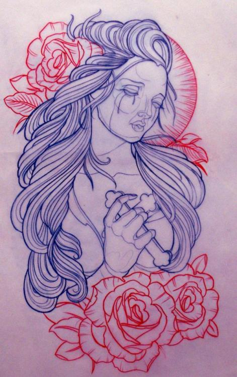 illustration by Emily Rose Murray woman, cross, roses, lines