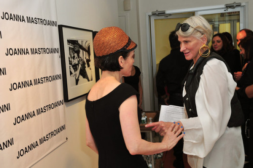 Designer Joanna Mastroianni greets Bobbi Quenn of WWD during the Joanna  Mastroianni Spring 2011 presentation during Mercedes-Benz Fashion Week  at 230 West 38th Street on September 16, 2010 in New York City.