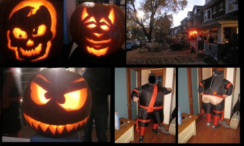 My pumkin didn't even make the cut for this collage, as it was terrible.  Terrible, people! Terrible! Pumpkin carving is not my forte. The little kids were adorable, and I wanted to take photos of them to show you, but decided that was simply too creepy. My favs were Harry Potter, Iron Man, Barney the Dinosaur, and a sheep dog.