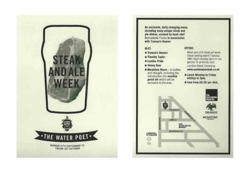 Steak & Ale week at the Water Poet flyer
