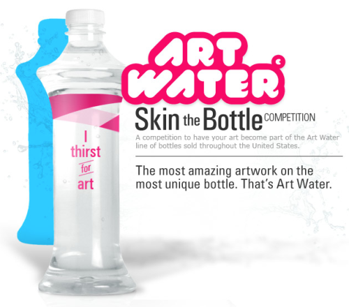 Art Water is challenging the talented deviantART Community to make its mark on their unique bottle shape with label designs that represent YOUR creative vision. It's your chance to compete to have your artwork dress bottles of Art Water in stores! Conform only to the shape of the bottle and create an Art Water label that represents your aesthetic insight. How you feel the bottle should look or what you think the bottle should say is how Art Water wants YOU to design it. Read the article