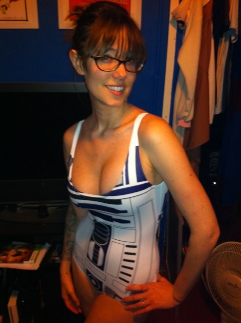 Yay! My sweet R2-D2 bathing suit just came in the mail!!!  Our babies will be beautiful and able to fix X-Wings! And, I'm wearing this to class tomorrow!