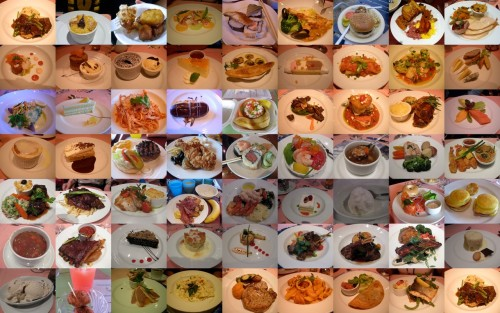 I made a collage of all the food we ate while on our 8 day cruise to the Bahamas last month. Mmm…the food was excellent.  We had everything from conch fritters to hot chocolate molten cake, sushi, and burgers.  We ate like kings and queens!  It was such a great trip!