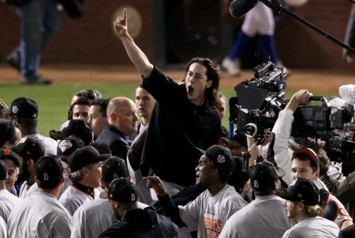 Tim Lincecum, World Series Champion. #SFGiants  My boy Jr has a new baseball hero. via (Photo by Christian Petersen/Getty Images)