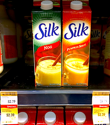 Silk Nog and Pumpkin Spice HAVE ARRIVED. They're on sale at Whole Foods, too! $2.39 for a taste of holiday deliciousness. I just heated up a mug of it and topped it off with some vegan pumpkin spice marshmallows. God, I'm such a glutton. May November and December never end! Yes! I'm calling for an end to the 12-month calendar! REVOLUTIONARY THINKING AND NOTHING LESS IS WHAT YOU'VE COME TO EXPECT FROM YOUR VEGANSAURUS!
