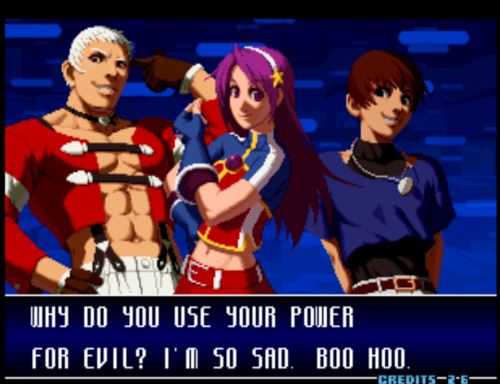 bison2winquote:  - Athena Asamiya to evil characters, The King of Fighters 2002 (SNK-Playmore)  Athena <3