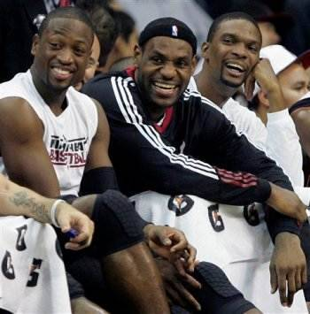 Lebron with Miami Heat teammates