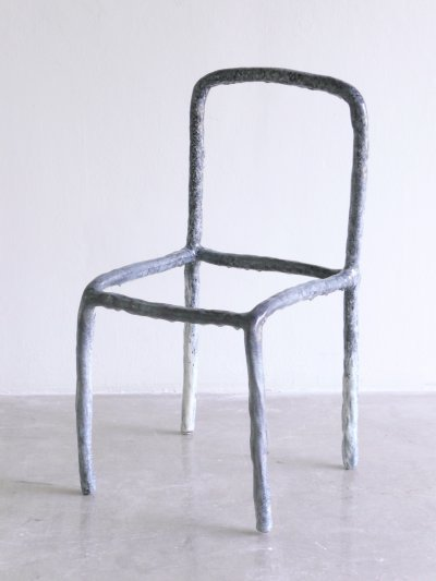 Anders Ruhwald. Chair  (2010). Glazed earthenware. 17 × 17 × 34 inches. At Devening Projects + Editions, Chicago.