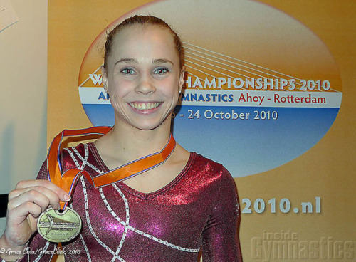 Rebecca Bross after the all-around at the 2010 World Championships (photo by Grace Chiu/Inside Gymnastics)