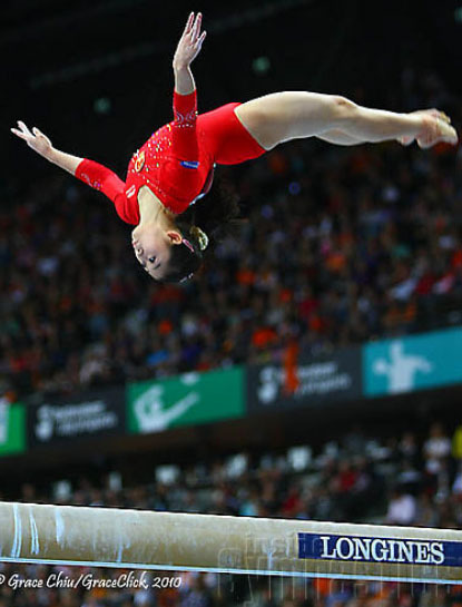 Jiang Yuyuan on beam during the all-around at the 2010 World Championships (photo by Grace Chiu/Inside Gymnastics)