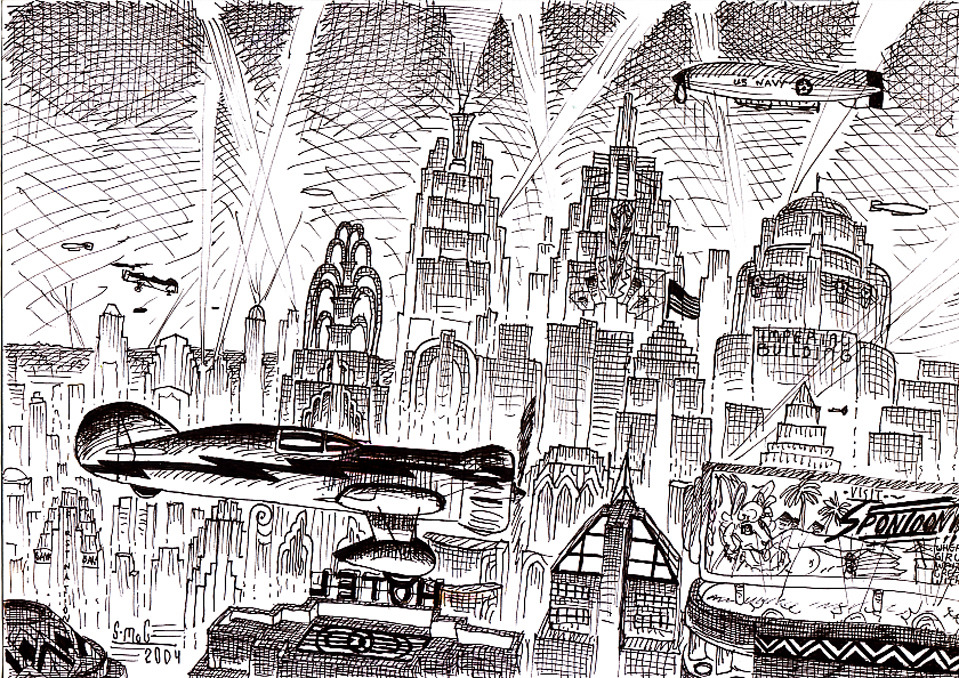 "1930s Futuristic Cityscape by duraluminwolf  A little doodle I did of an imaginary 1930's ""retro-future"" skyline. The  plane flying in the foreground is a ""Mystery Ship"" Some people have  said that this looked like something from the old black-and-white  comedy/musical film, Just Imagine.  via decoarchitecture"