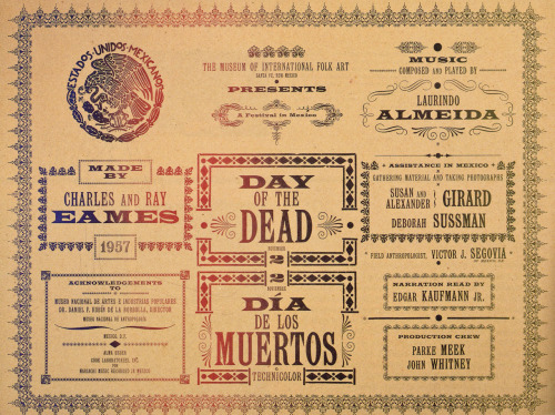 """Day of the Dead"" film title panel by Charles & Ray Eames. via Art of the Title"