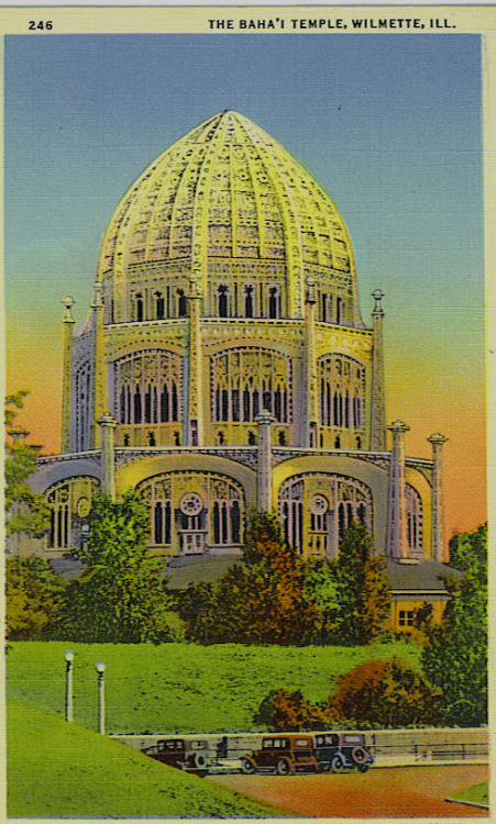 "This is a postcard that shows a ""Temple that never was.""   It's from before the Baha'i House of Worship was constructed, showing a golden dome and incorrect proportions.  It also shows the lanterns, which were never installed.  This ""view"" is looking south from Sheridan Road across the North Shore Channel, and cars can park there, but not for visiting the Temple.  This is a lovely colorized postcard which can be found for one or two dollars at a post card show."