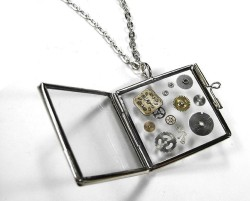 Steampunk Necklace Vintage COOL Hinged Glass Book by edmdesigns