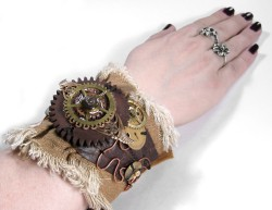Steampunk Cuff BROWN LEATHER Textile Mixed Media by edmdesigns