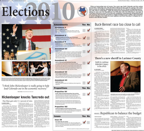 So for our last coverage of the 2010 Midterm Elections, our team created a double truck to package the results of the night. Throughout the evening, reporters and editors updated our website and social media sites. This page came together in the last hour, as the most updated stories and photos were filed from the field. While the graphic was created early, marking the results of the amendment and proposition votes, the rest of the content was placed near deadline. While completing the page was stressful, and may not have turned out as clean or precise as we would have liked, the overall appearance was consistent and effective. Page designed by Design Editor Alexandra Sieh.