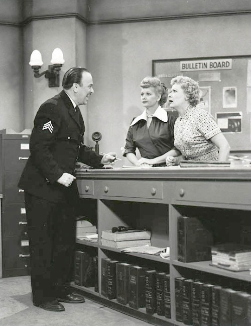 Frank Nelson, Lucille Ball & Vivian Vance I Love Lucy production still