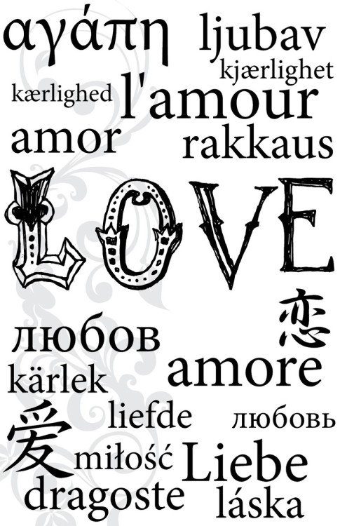 Love in over 15 languages.