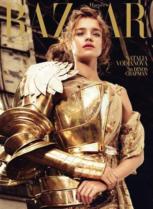 Natalia Vodianova on Harper's Bazaar UK 2010 LOVE IT. The gold amour rocks.