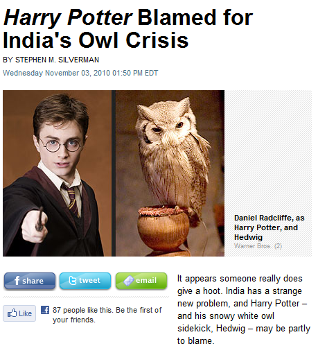 that owl looks nothing like the hedwig we know and love. india, look at your life, look at your choices owls, everyone is fond of owls except for india and hermioneeeeee simon cowell your days are numbered owls will get you while you slumber weebly, anyone?  source