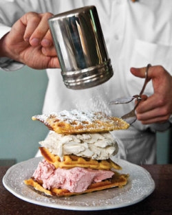 Handmade ice cream layered between warm buttermilk waffles. Oh my… Waffle heaven.