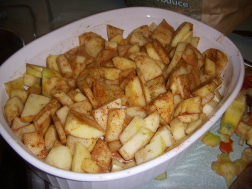 sarahfit:  Baked apples with cinnamon = deliciousness dessert with no sugar added.     Preheat oven to 350.  Peel apples, and chop them up.  I like fuji, honey crisp and gala.  Next add some cinnamon to your liking. Put in a baking dish.  Bake in oven for 30 minutes or until desired consistency.  Top with slivered almonds or granola (measure that sh*t though, this is dessert people) for some crunch.