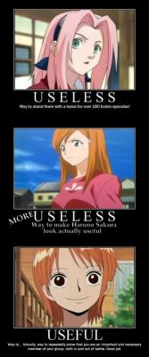-hellenistic:  -therobotwithhumanhair:  I disagree with Orihime being useless. She's just weak offensively. Thanks to her, the story didn't end the first time Ulquiorra killed Ichigo. She's far from useless. I'd say she's more important than Chad.  Agree.   Not trying to diss the other two series or anything, but I like the opinion about Nami, hehe.Sakura isn't completely useless. The fight against Sasori was really cool, and she's proving to be better?Orihime, I don't know about you dood!