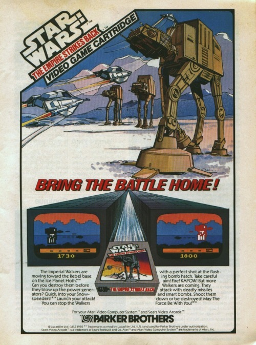 gameandgraphics:  Press ad for The Empire Strikes Back game (for the Atari Videocomputer System and Sears Video Arcade, 1982).