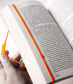 nightswimming:  'Bookmark' by Propaganda is a colorful rubber band that wraps around a book with an indicator arrow that shows you the last line you were reading (via Designaddict)