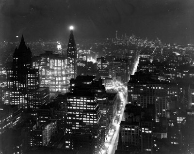 1946 - View from the Empire State Building, looking South (Night time) by Todd Webb