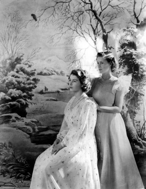 Queen Elizabeth II (b.1926) with Princess Margaret (1930-2002), date and source unknown :(