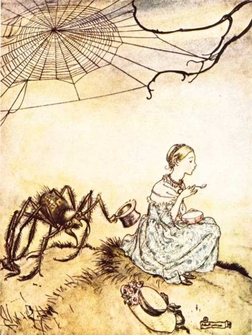 Little Miss Muffet by Arthur Rackham (1867-1939), date unknown.