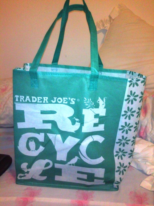 Got this reusable bag for free from Trader Joe's for their grand opening in Davis! :)