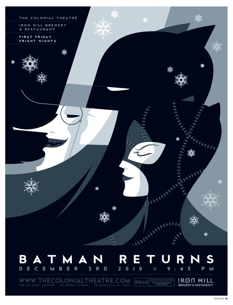 "my poster design for the colonial theatre's december showing of ""batman returns."""