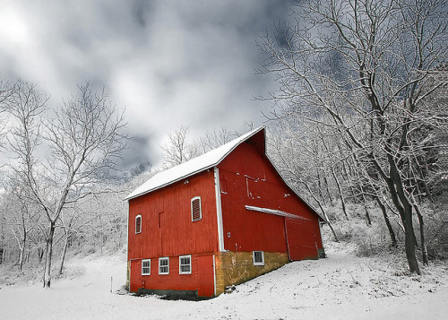 fuckyeahfarmlife:  Little Red Barn Covered with Snow (by Todd Klassy)