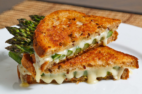 I die. gluttonyisabliss:  Roasted Asparagus Grilled Cheese Sandwich (by Kevin Lynch)